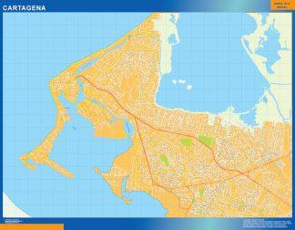 Mapa de Cartagena en Colombia enmarcado plastificado