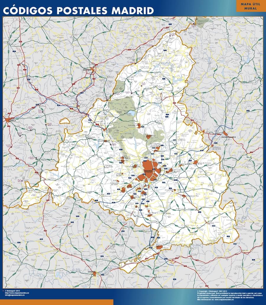Mapa De Comunidad De Madrid Codigos Postales Enmarcado