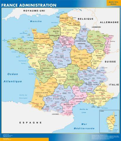 Mapa de Francia de departamentos enmarcado plastificado