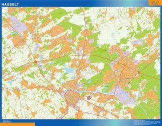 Mapa de Hasselt en Bélgica enmarcado plastificado