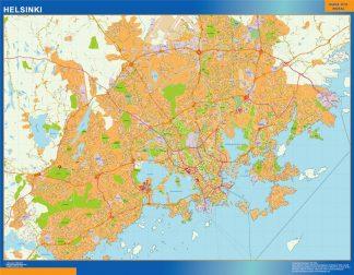 Mapa de Helsinki en Finlandia enmarcado plastificado