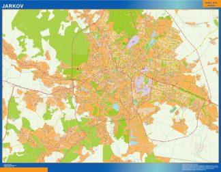 Mapa de Jarkov en Ucrania enmarcado plastificado