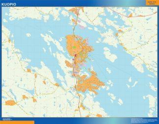 Mapa de Kuopio en Finlandia enmarcado plastificado