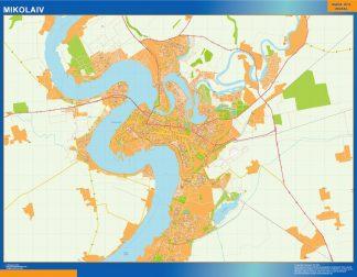 Mapa de Mikolaiv en Ucrania enmarcado plastificado