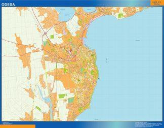 Mapa de Odesa en Ucrania enmarcado plastificado