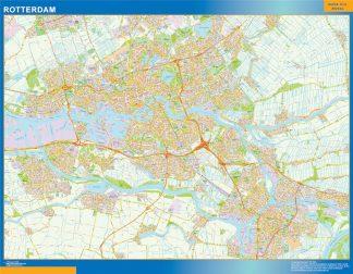 Mapa de Rotterdam enmarcado plastificado