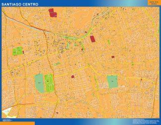 Mapa de Santiago de Chile en Chile enmarcado plastificado
