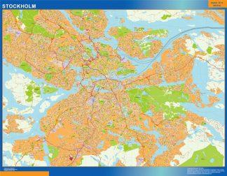 Mapa de Stockholm en Suecia enmarcado plastificado