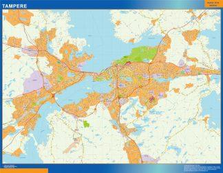 Mapa de Tampere en Finlandia enmarcado plastificado