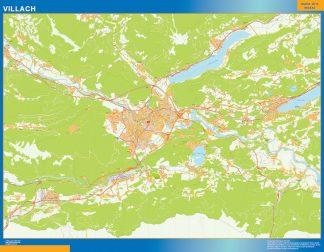 Mapa de Villach en Austria enmarcado plastificado