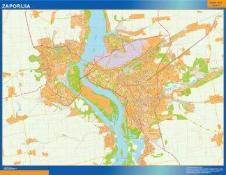 Mapa de Zaporijia en Ucrania enmarcado plastificado