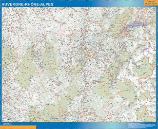 Region Auvergne-Rhone-Alpes enmarcado plastificado