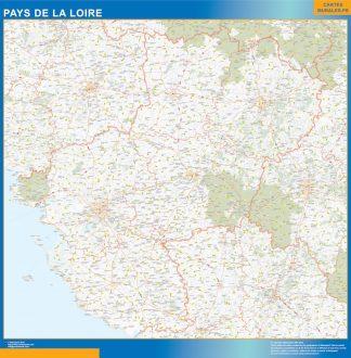 Region Pays de la Loire enmarcado plastificado