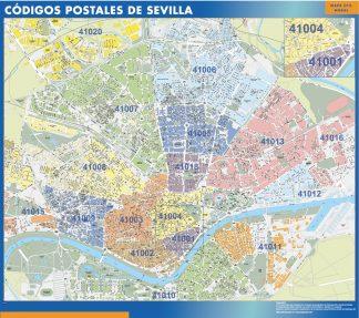 Mapa Codigos Postales Barcelona.Sevilla Codigos Postales Vinilo Adhesivo Mapas De Pared